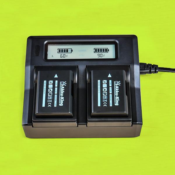 Doppeltes Akku-Ladegerät für Kameraakkus mit wechselbaren Akkuschächten