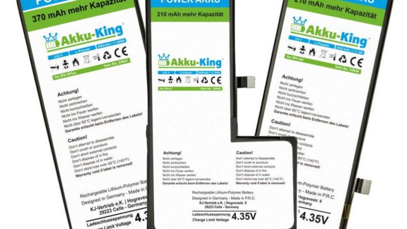 Akku-King Power-Akkus für iPhone 8 / 8 Plus und iPhone X mit mehr Leistung als beim Originalakku!